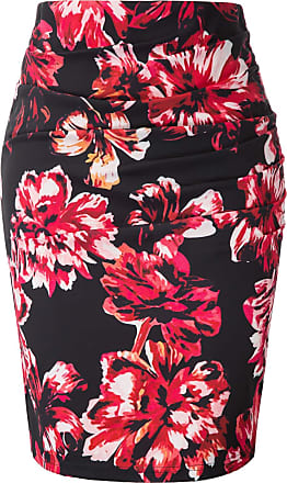 Grace Karin 50s Vintage Floral Skirt Women Summer Fancy Party Bodycon Skirt Slim Ruffled Cocktail Prom Skirt Floral Red XL