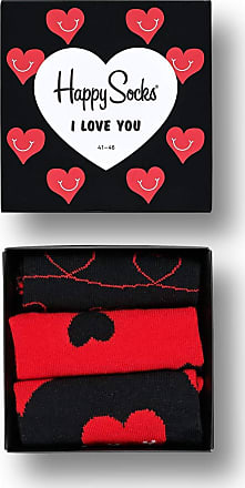 Happy Socks Exclusive Colourful Premium Cotton Sock Gift Box for Men and Women (Pack of 3), I Love You, (36-40)