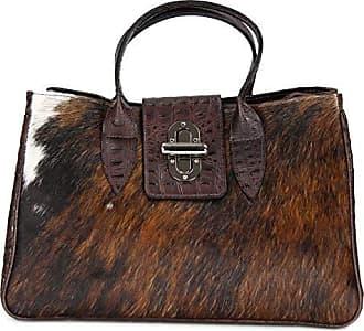 6d987d7864c17 Belli Echt Leder Handtasche Damen Ledertasche Umhängetasche Henkeltasche in braun  kroko mit Kuhmuster - 36x25x18 cm