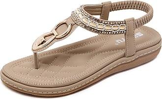 Insun Womens Navy Thong T Strap Flat Sandals 6 UK