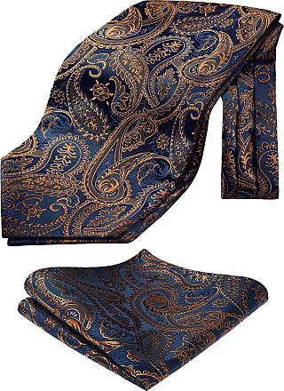 Hisdern Mens Cravat Floral Paisley Jacquard Woven Handkerchief Set