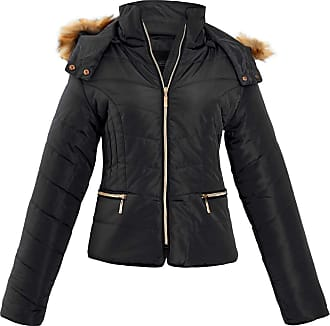 Shelikes Womens Ladies Quilted Padded Zip Up Faux Fur Hood Hooded Jacket Coat [Black 2XL]