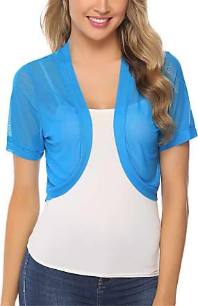 Abollria Wedding Cover Up Summer Sheer Chiffon Short Sleeve Open Front Bolero Jackets Blue