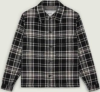 Ami Schwarzweiss-Tartan-Muster-Wolle knöpfte Jacke - cotton | Size XS | black - Black/Black