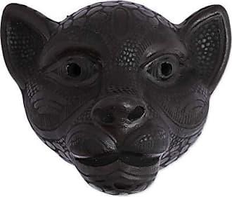 Novica 339181 Black Jaguar Ceramic Mask