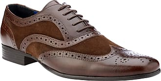 Redtape Carn Tan Leather & Suede Tan/Navy Mens Brogue Shoes (10 UK, Brown)