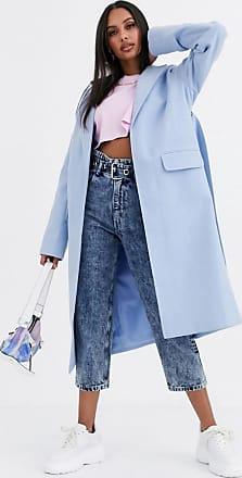 Missguided Langer Duster-Mantel in Blau mit Gürtel