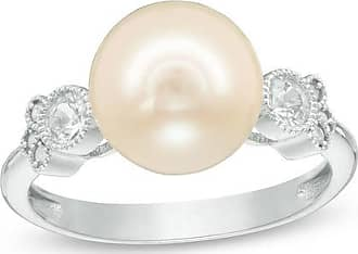 Zales 10.0 - 10.5mm Cultured Freshwater Pearl, White Sapphire and Diamond Accent Vintage-Style Ring in 10K White Gold