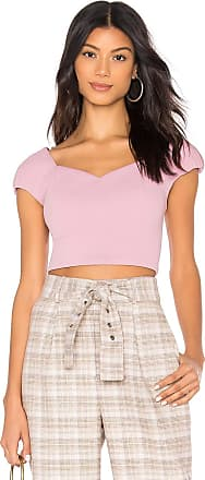 J.O.A. Short Puff Sleeve Crop Top in Lavender