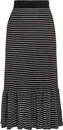 502603eedc Sonia Rykiel Sonia Rykiel Woman Metallic Striped Cotton-blend Midi Skirt  Black Size L
