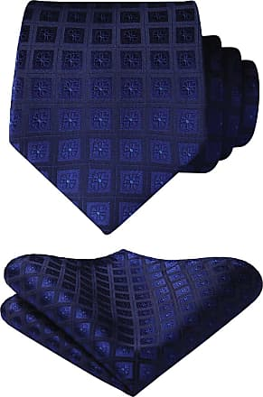 Hisdern Mens Check Dot Tie Handkerchief Wedding Party Necktie & Pocket Square Set Navy Blue