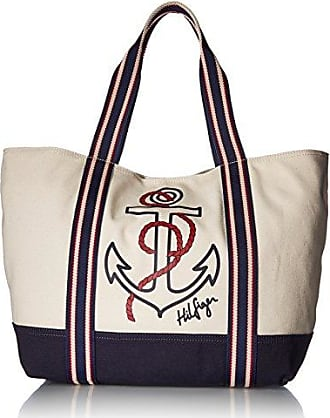ece4ae3fbc Tommy Hilfiger Bag for Women Canvas Item Tote, Natural/Navy/Red