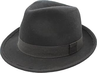 Hawkins New Gents Mens 100% Wool Felt Fedora Ttrilby with 5cm Wide Brim Black