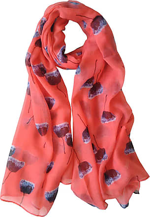 GlamLondon Painted Poppies Print Scarf Womens Poppy Flower Fashion Floral Shawl Wrap (Coral Pink)