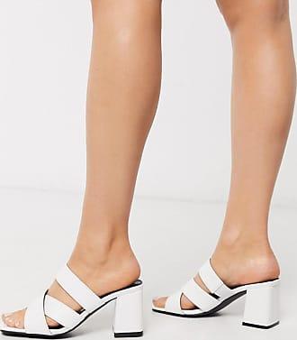 Glamorous Weiße Pantoletten in Kroko-Optik mit Blockabsatz