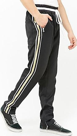 21 Men Lifted Anchors Metallic Stripe Track Pant at Forever 21 Black