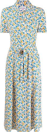 HVN Vestido com estampa floral - Neutro