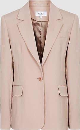 Reiss Lana - Textured Tailored Blazer in Pale Pink, Womens, Size 10