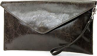 modamoda.de ital. Leather bag Clutch underarm bag Evening bag Wrist bag Wrist bag Smooth leather T106G, Colour:dark Brown