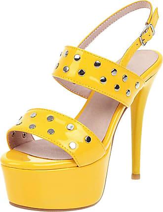 Mediffen Stiletto High Heels Sandals Platform Women Ankle Strap Sandals Evening Fashion Ladies Open Toe Sandals Party Punk Sandals Yellow Size 47 Asian