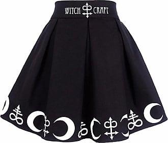 Dresswel Women Gothic Punk Mini Skirt High Waist Pleated Witchcraft Moon Magic Spell Symbols Skirt (Black, XXL)