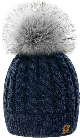 4sold Womens Ladies Beanie Hat Pom Pom Warm Winter Natural Wool Mohair Lining Full Cosy Fleece Liner (Carla Navy)