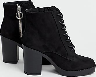 ed125fecbf New Look New Look wide fit faux suede lace up heeled boot in black - Black