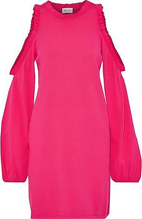 Milly Milly Woman Cold-shoulder Ruffle-trimmed Stretch-knit Mini Dress Fuchsia Size XS