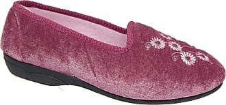 Zedzzz Ladies Womens Heather Velour Embroidered Slip On Slippers Sizes 3 to 8 (5)