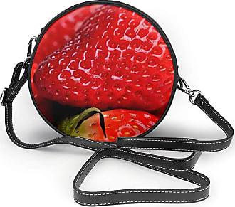 Turfed Delicious Fruit Strawberry Fashion Round PU Crossbody Handbag Round Shoulder Bag For Women Girls