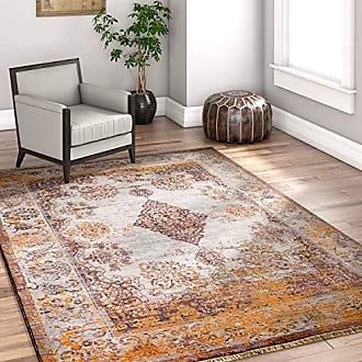 Well Woven GT-71-5 Vintage Zahra Modern Distressed Medallion Oriental Gold 53 x 77 Area Rug