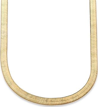 PalmBeach Jewelry Herringbone Necklace in Sterling Silver with a Golden Finish