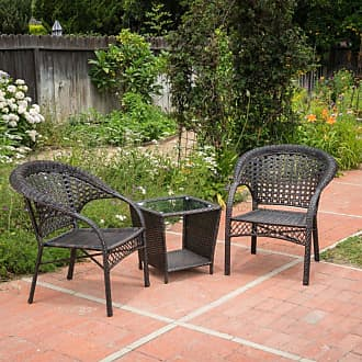 BEST SELLING HOME Hamilton Wicker 3 Piece Outdoor Stacking Chair Chat Set - 300940