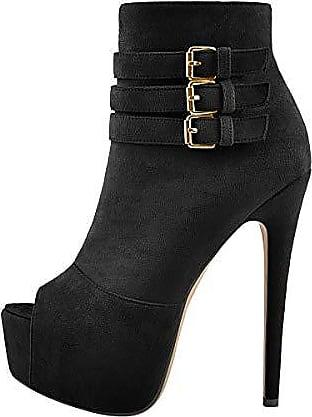 Schwarz Platform Peeptoe Damen Pumps Stiefeletten High Heels Stiletto Elegante