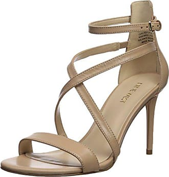 9396a832a9 Nine West Womens RETILTHRPY Leather Heeled Sandal, Natural, 7.5 M US