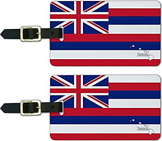 Graphics & More Graphics & More Hawaii Hi Home State Luggage Suitcase Id Tags-Flag, White