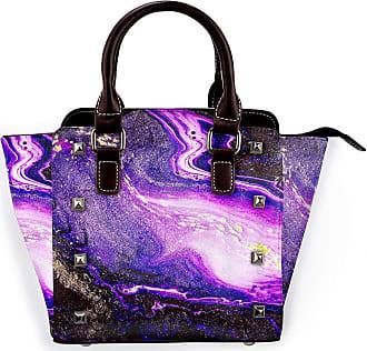 Browncin Marble Design Purple Golden Marbling Background Colorful Moddern Oriental Art Detachable Fashion Trend Ladies Handbag Shoulder Bag Messenger Bags