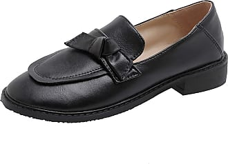 Mediffen Women Comfort Mid Heels Round Toe Slip On Loafers OL Shoes Fashion Bowknot Pumps Office Formal Pumps Casual Loafers Black Size 37 Asian