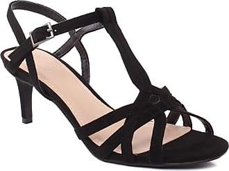 Unze Unze Women CELESTIA Peep Toe Evening Suede Ankle Strap Mid-High Heel Casual Cross Over Toe Strap Dinner T-Style Formal Stiletto Sandals UK Size 3-8 -
