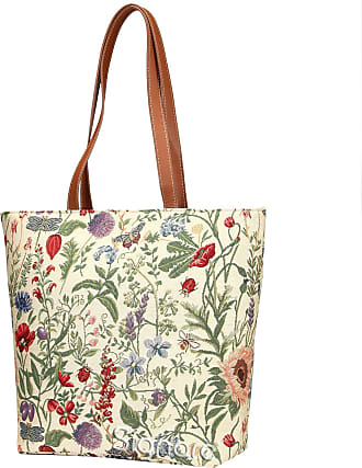 Signare Tapestry Women Shopping Shoulder Tote Bag Pink and Red Orchid Flowers in Grey SHOP-ORC