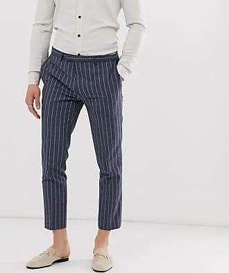 Twisted Tailor Pantaloni da abito cropped affusolati blu gessato