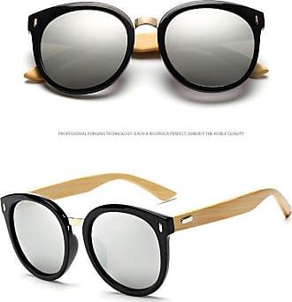 Zhuhaixmy Fashion Goggles Round Big Frame Retro Style Unisex Bamboo Wood Frame Sunglasses