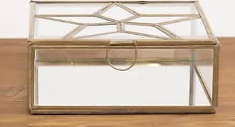 Nkuku Glas und Messing Star Square Box - glass/brass