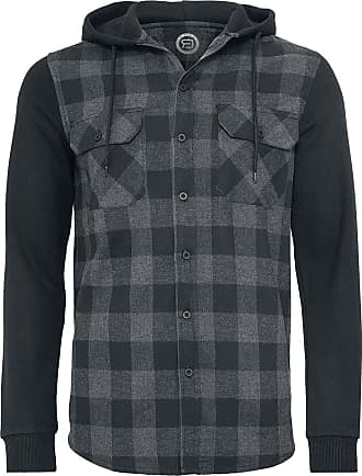 b943d274232a28 RED by EMP Hooded Checked Flanell Sweat Sleeve Shirt - Flanellhemd -  schwarz