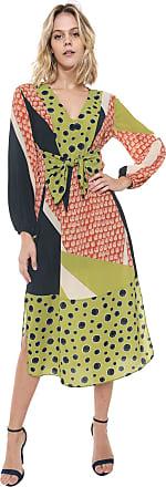 Morena Rosa Vestido Morena Rosa Midi Amarração Verde/Azul-marinho