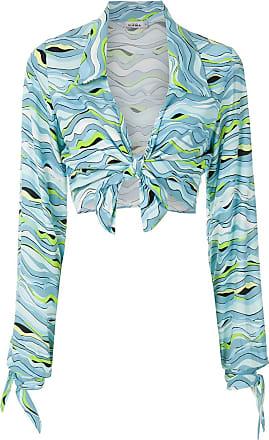 Amir Slama Cropped-Hemd mit Print - Blau