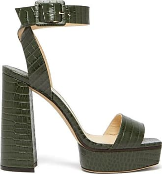 Jimmy Choo London Jax/pf 125 Croc-effect Leather Platform Sandals - Womens - Green