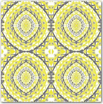 KESS InHouse MM4045AKP01 Miranda Mol Yellow Tessellation Art Clings 12-Inch x 12-Inch Square Sticker Wallpaper Decal