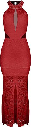 Outlet Dri Vestido OutletDri Rendado Gola Alta Decote Tule Frontal Lateral Fenda Vermelho