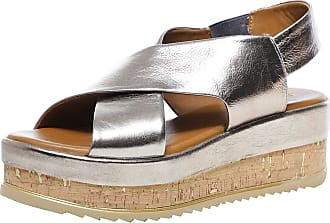 Inuovo Womens Leather Crossover Slingback Sandals 7 Pewter
